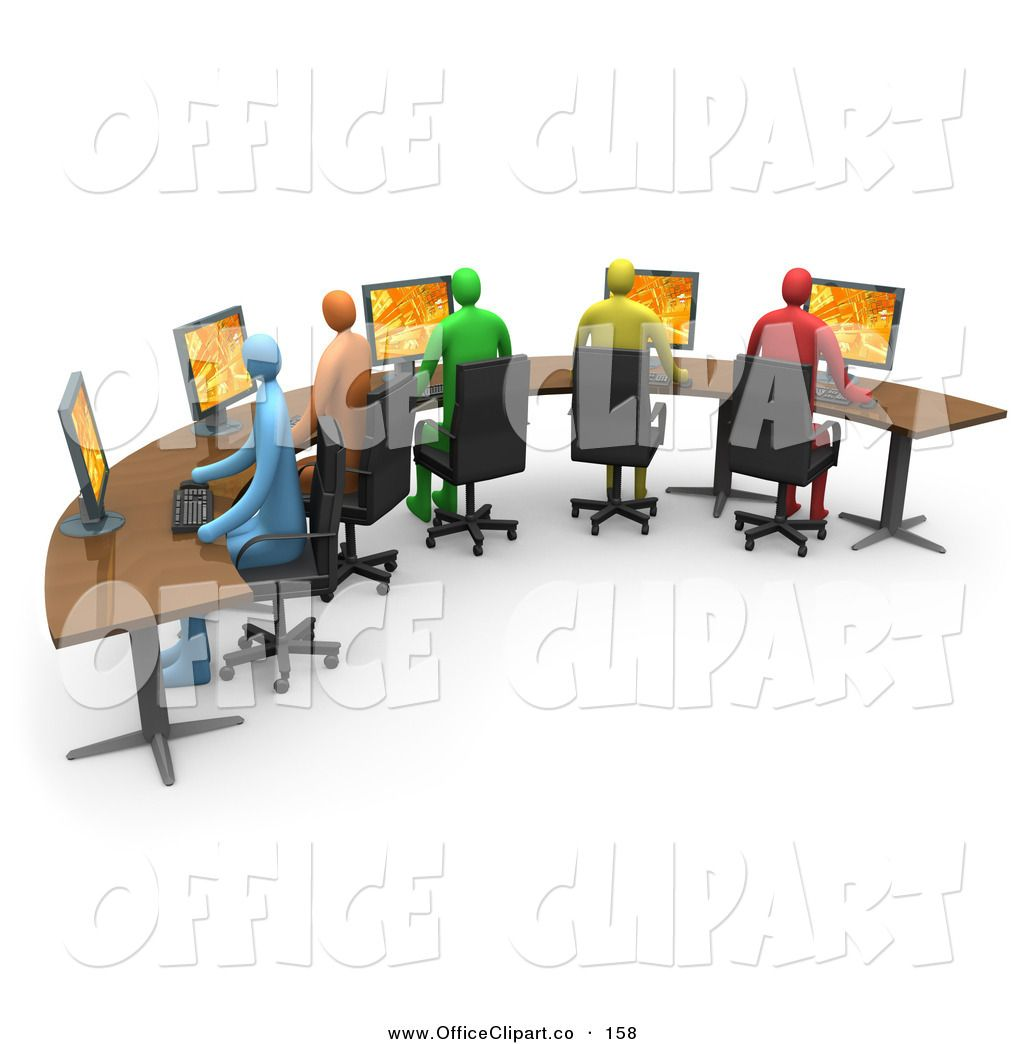 Diverse student population clipart in a row vector free stock Office Desk Clip Art Free | Clip Art of a Row of Colorful Diverse ... vector free stock