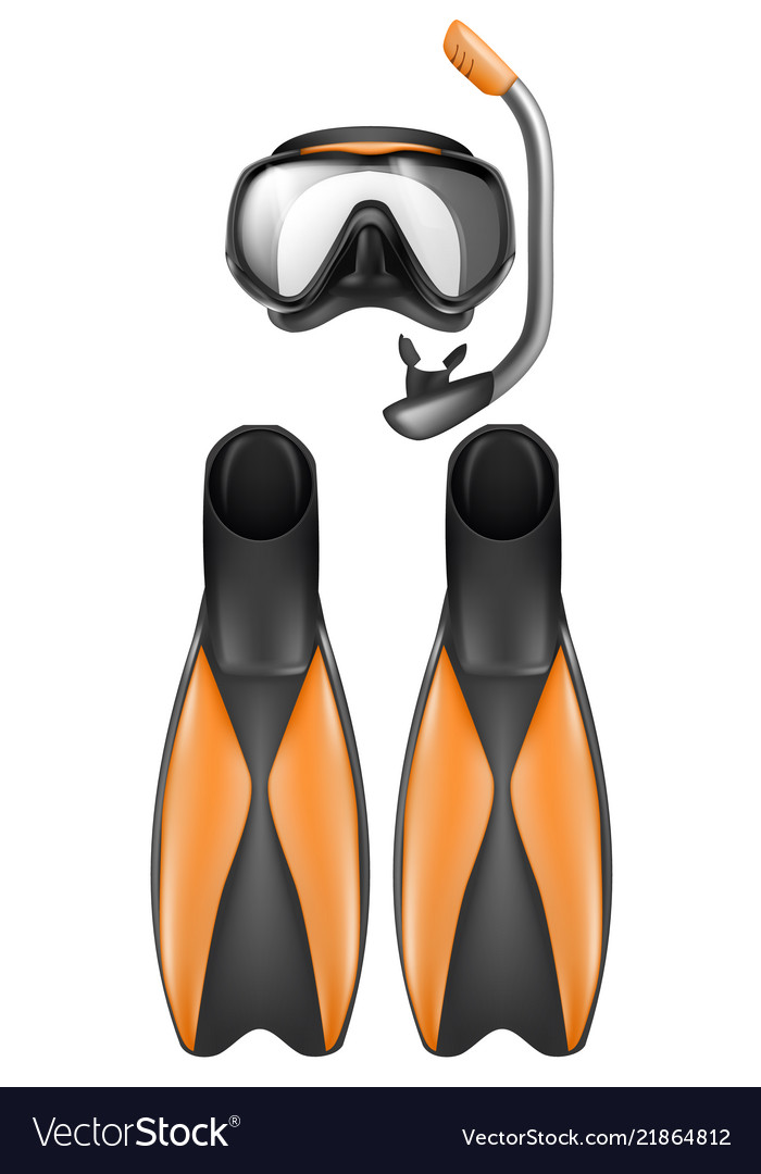 Diving mask clipart clip art transparent download Diver equipment snorkel mask and flippers clip art transparent download