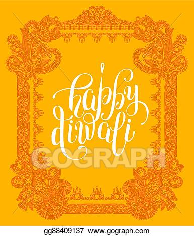 Diwali clipart frames clip stock EPS Illustration - Happy diwali greeting card with paisley ... clip stock