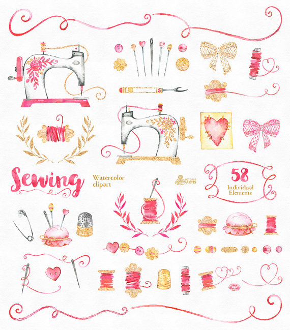 Diy logo clipart jpg black and white Sewing. Branding Kit and Clipart, watercolor, gold, diy, logo ... jpg black and white