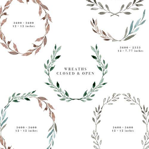 Diy logo clipart jpg royalty free stock Watercolor Leaves Wreaths Clipart, DIY Watercolor Wedding Invitations jpg royalty free stock