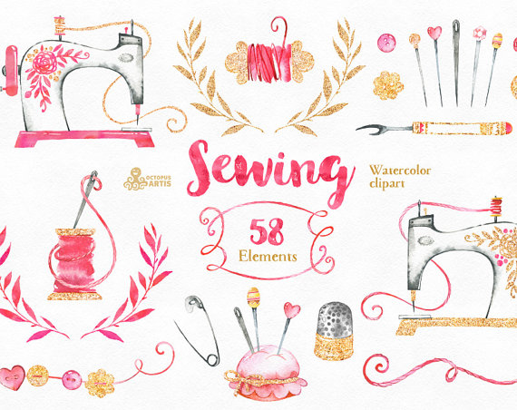 Diy logo clipart svg transparent stock Sewing. Branding Kit and Clipart, watercolor, gold, diy, logo ... svg transparent stock