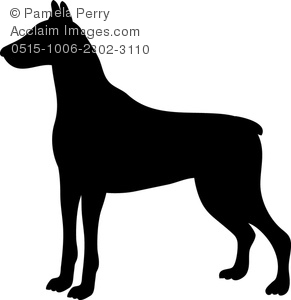 Doberman pinscher clipart picture freeuse library Clip Art Image of a Silhouette of a Doberman Pinscher picture freeuse library