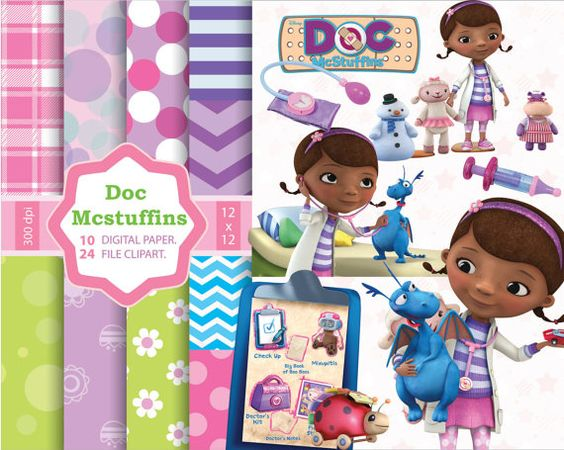 Doc mcstuffin car character clipart clipart transparent library DOC Mcstuffins - 10 papers + 24 characters clipart - 2 backgrounds ... clipart transparent library