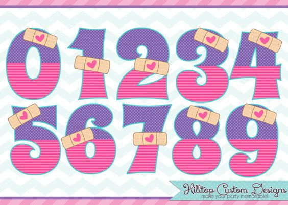 Doc mcstuffin clipart graphic black and white library Doc McStuffins Inspired Boo Boo Numbers Clipart in JPG and PNG ... graphic black and white library