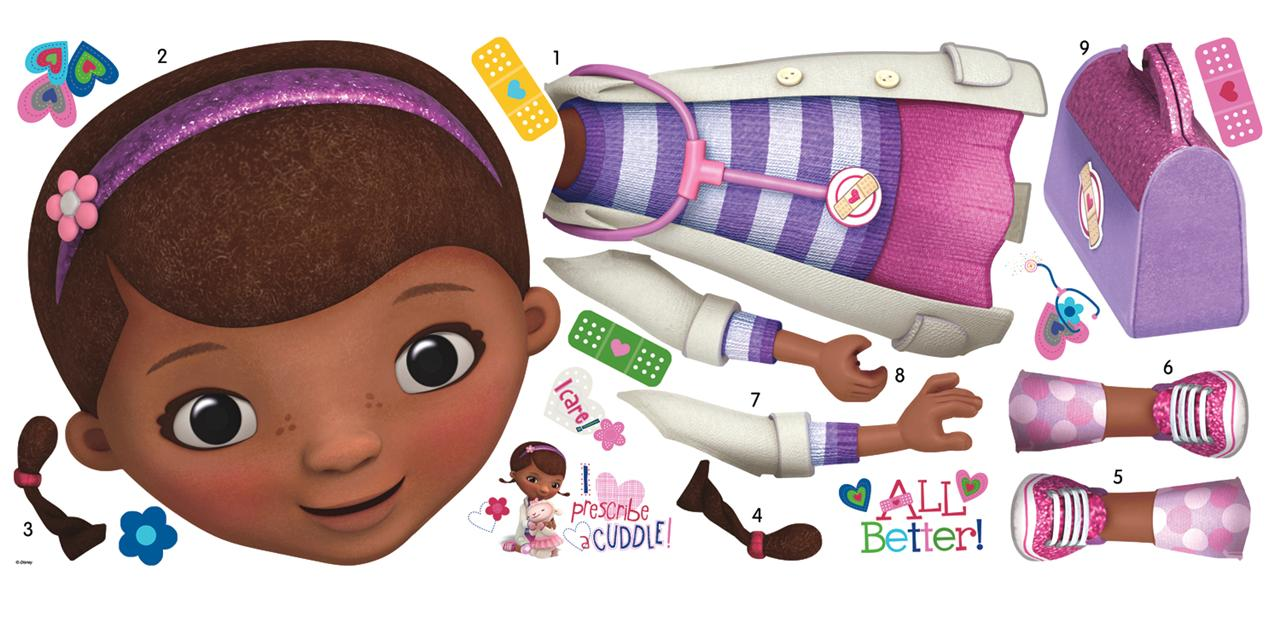 Doc mcstuffin truck character clipart image freeuse download New Giant DOC MCSTUFFINS WALL DECALS Disney Stickers Girls Bedroom ... image freeuse download