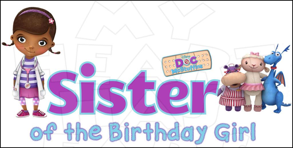 Doc mcstuffins 1st birthday clipart. Sister of girl instant