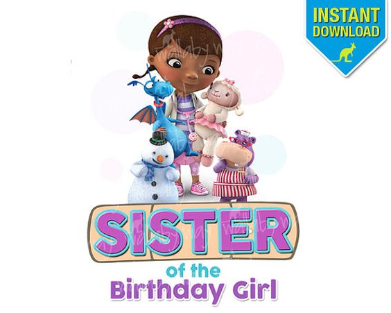 Doc mcstuffins 3rd birthday clipart. Sister of girl printable