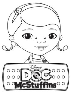 Doc mcstuffins face clipart. Black and white clipartfest