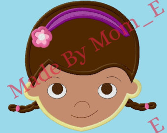 Patch etsy stuffmuffins applique. Doc mcstuffins face clipart