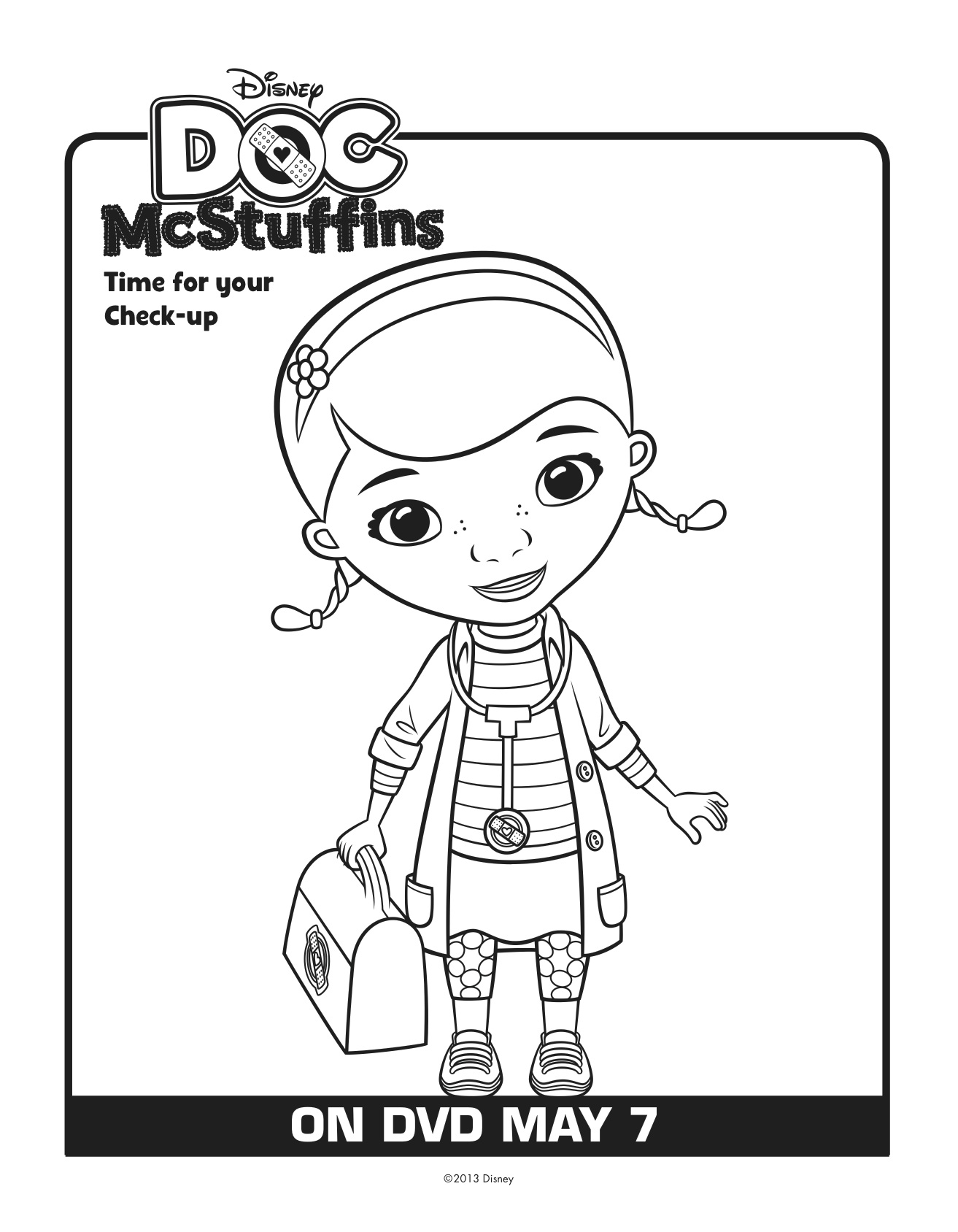 Doc mcstuffins printable clipart png free Doc mcstuffins clipart black and white - ClipartFest png free