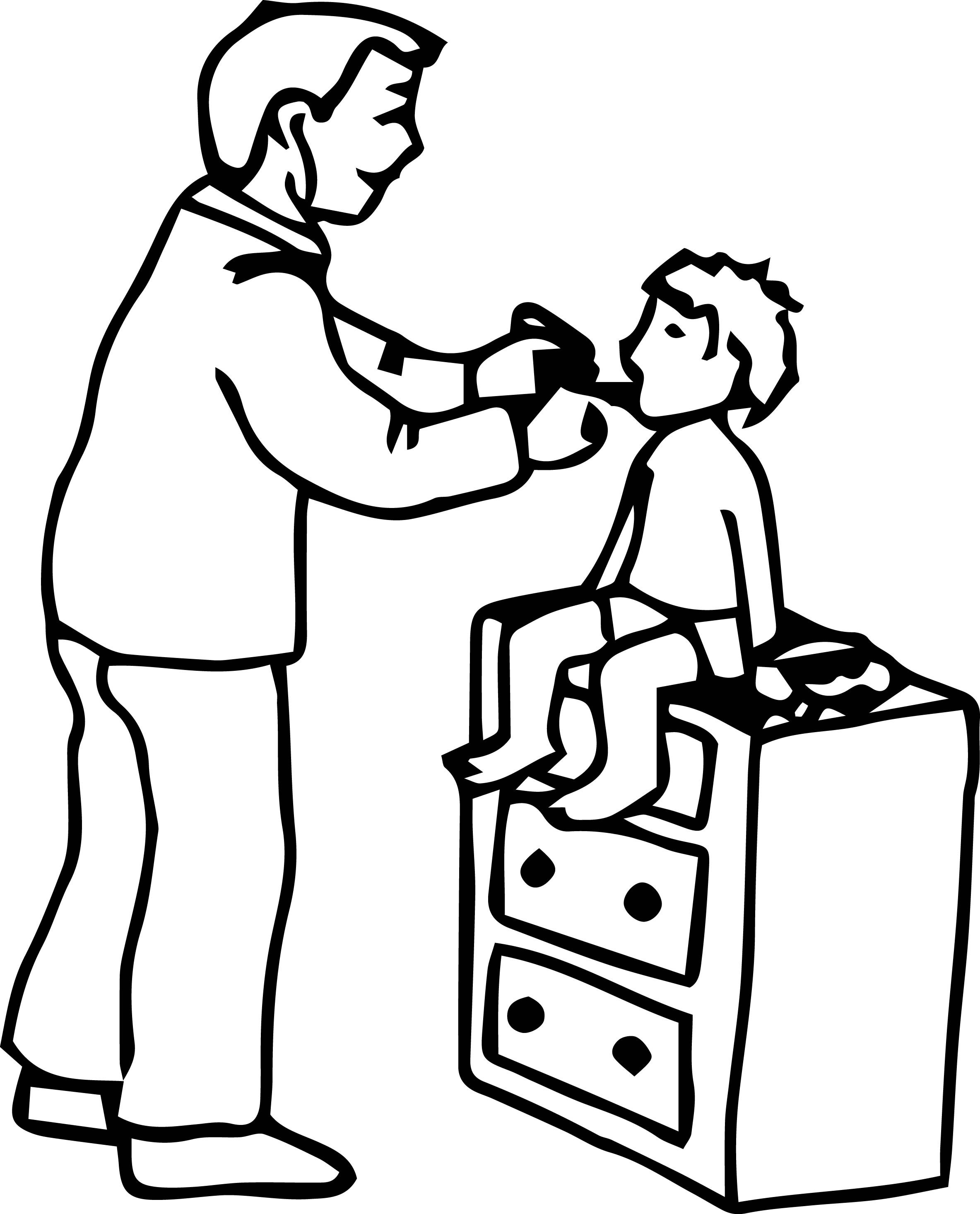Doctor and kid clipart black and white vector black and white download Kid doctor clipart black and white 7 » Clipart Portal vector black and white download