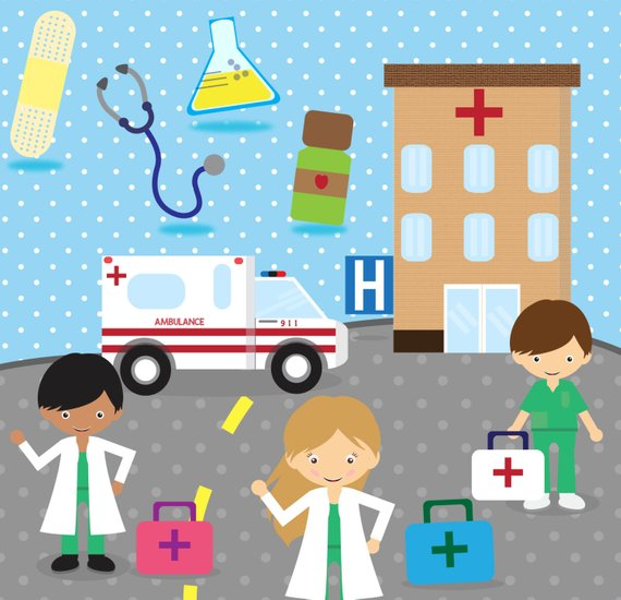Doctor hospital clipart image stock Doctor Clip Art - Hospital Clipart - Medical Clipart - Ambulance ... image stock