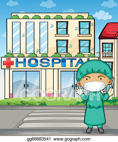 Doctor hospital clipart jpg free library Vector Stock - A doctor in front of the hospital. Clipart ... jpg free library