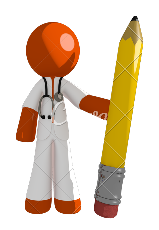 Doctor playing basketball clipart jpg library library Orange Man Doctor Holding Giant Pencil - Photos by Canva jpg library library