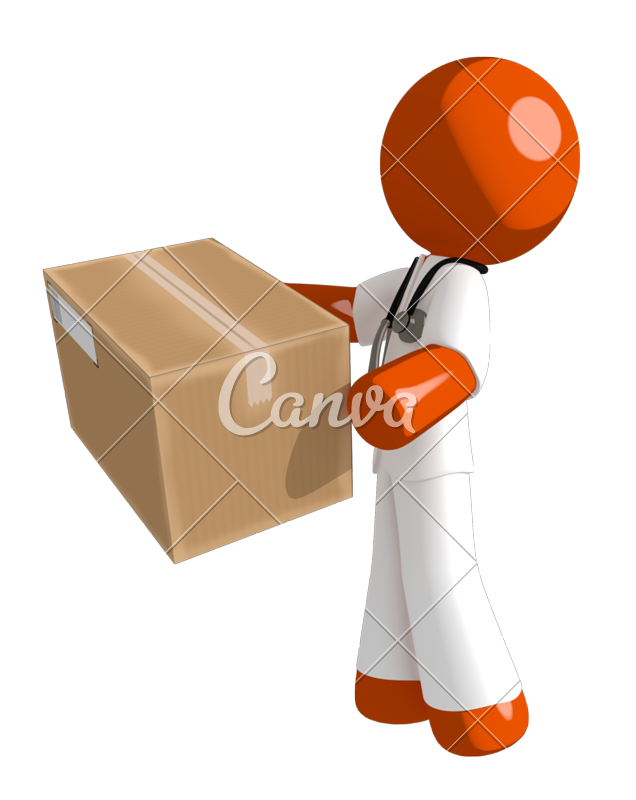 Doctor playing basketball clipart banner black and white Orange Man Doctor Delivering a Package - Photos by Canva banner black and white