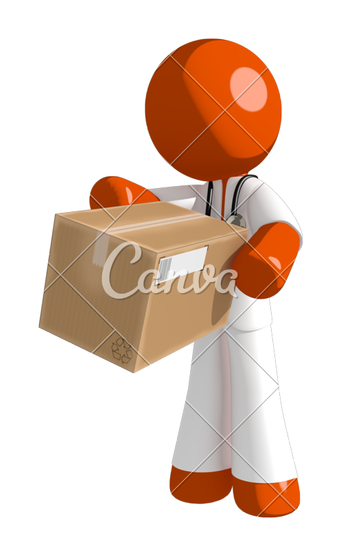 Doctor playing basketball clipart png library stock Orange Man Doctor Gesturing Right - Photos by Canva png library stock