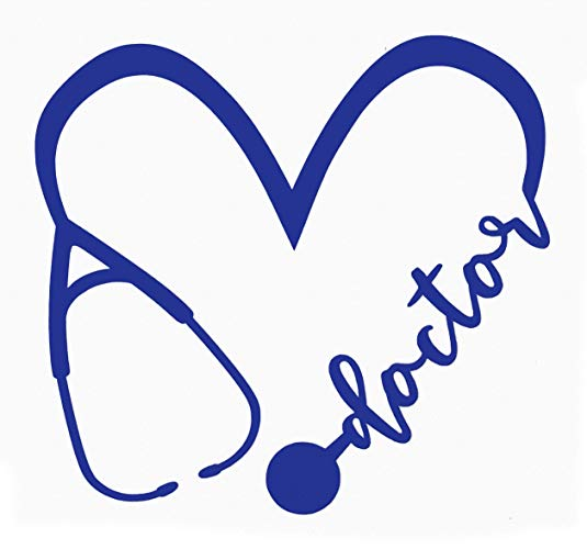 Doctor stethoscope clipart free for cellphone contacts clipart black and white download Amazon.com: Custom Heart Doctor Stethoscope Vinyl Decal - Dr. Bumper ... clipart black and white download