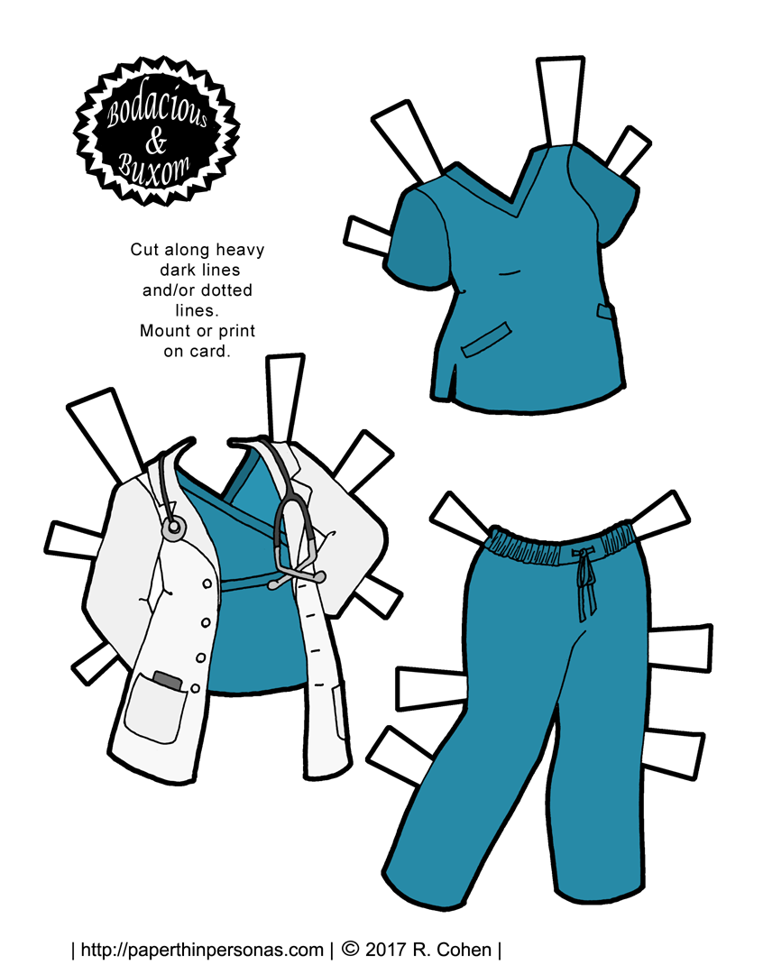 Doctor suit clipart clip royalty free stock A Nurse or Doctor Paper Doll Outfit to Print for Free | Paper Dolls ... clip royalty free stock