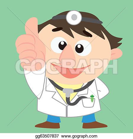Doctor thumbs up clipart. Eps vector cartoon stock