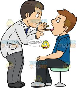 Doctor with patient clipart image royalty free A Doctor Checking The Throat Of A Male Patient image royalty free