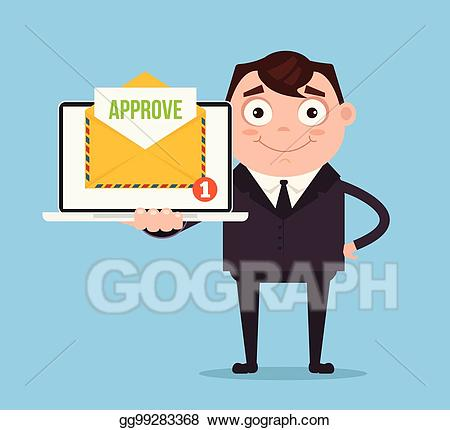 Document approval clipart free library Clip Art Vector - Happy smiling businessman office worker man ... free library