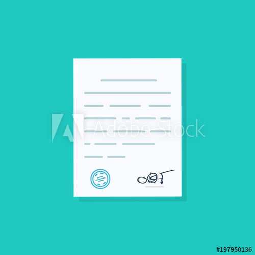 Document approval clipart clip art black and white Business document, agreements document with signature and approval ... clip art black and white