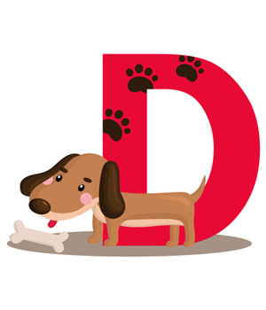 D is for clip. Dog alphabet clipart