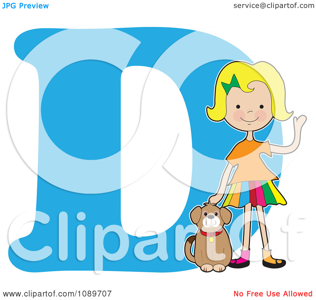 Dog alphabet clipart. Girl petting a over