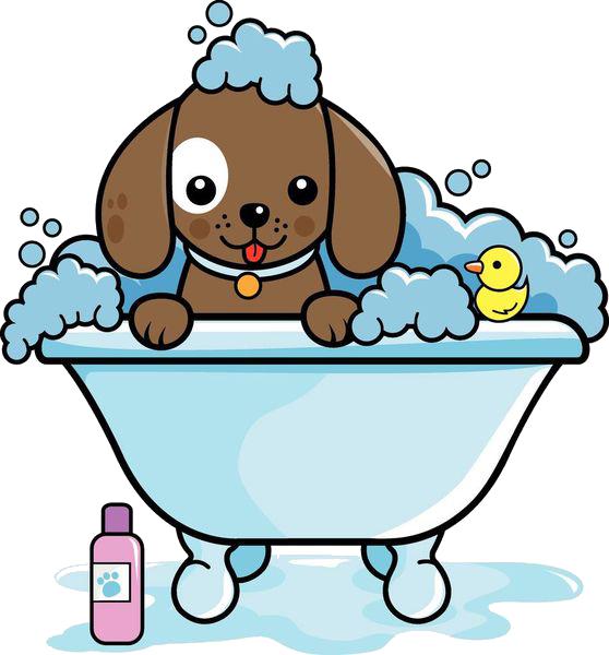 Dog and cat bath clipart clip stock Dog grooming Cat Clip art - A puppy sprawled on a bathtub 558*600 ... clip stock