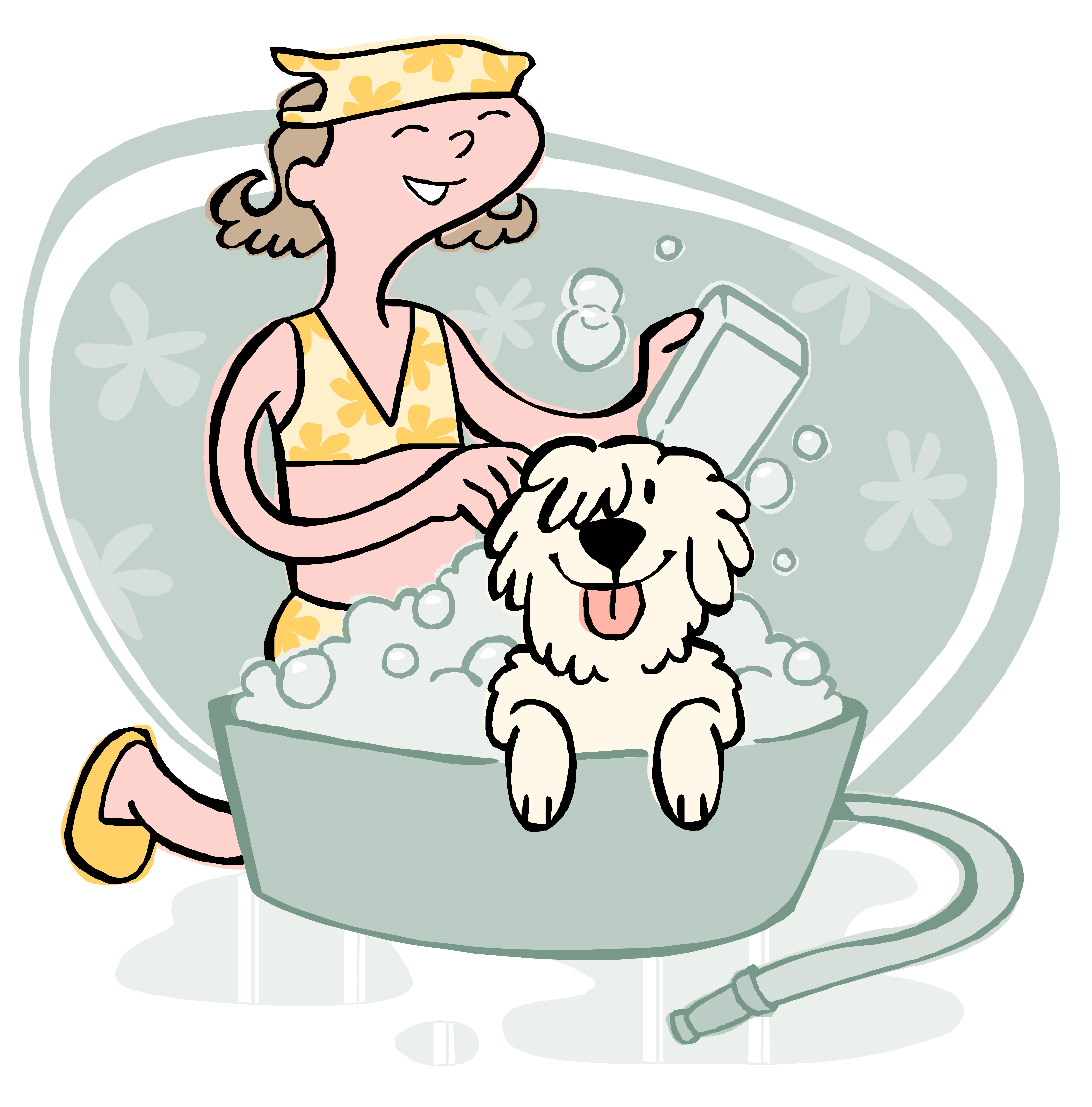 Dog and cat bath clipart clipart transparent stock Dog grooming Cat Puppy Pet - Pet a bath 7010*7104 transprent Png ... clipart transparent stock