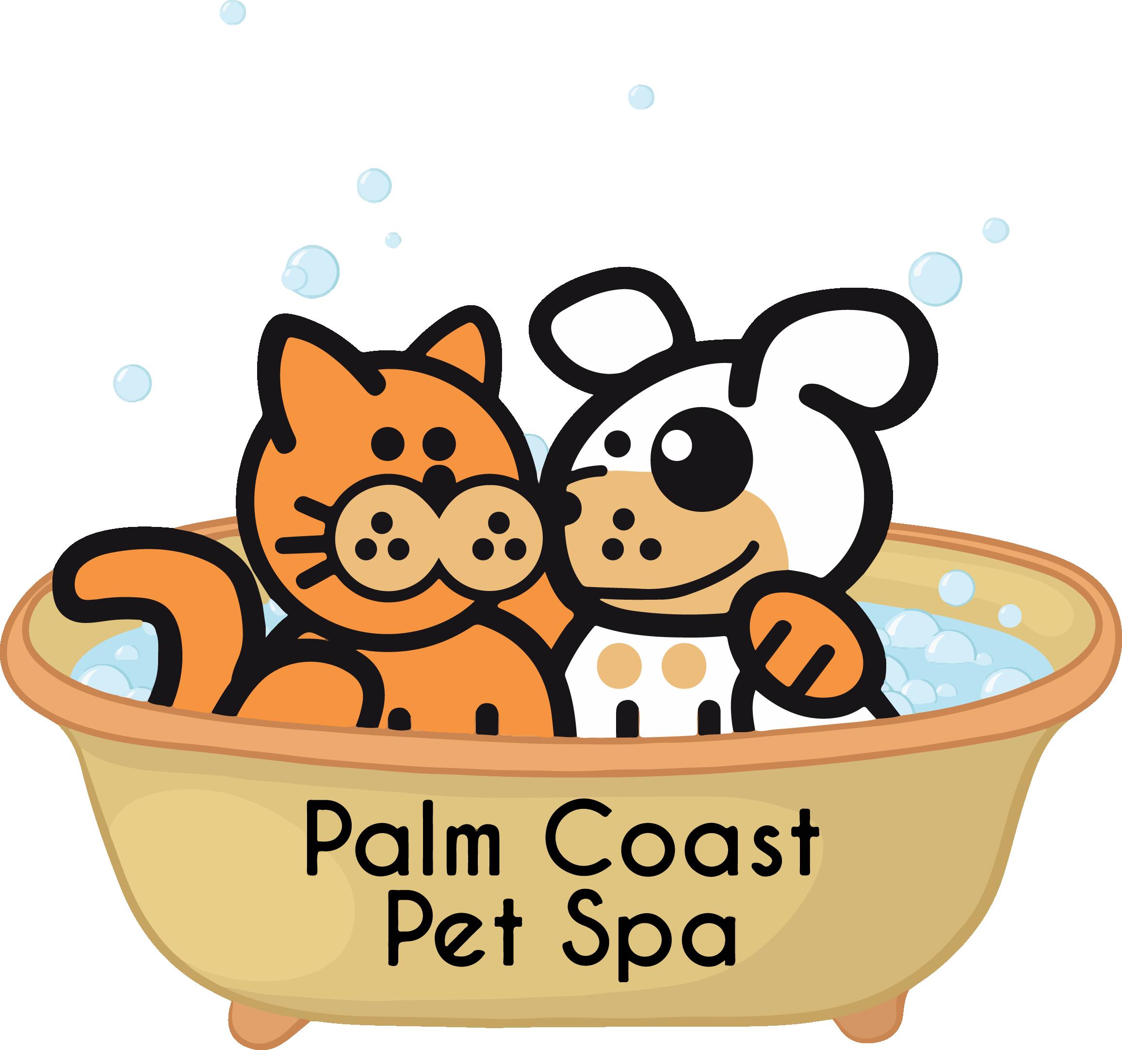 Dog and cat bath clipart. Palm coast pet spa