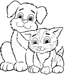 Dog and cat black and white clipart vector transparent puppy and kitten free color pages - Google Search   coloring pages ... vector transparent