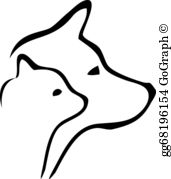 Dog and cat scenery clipart black and white svg free stock Cat Dog Clip Art - Royalty Free - GoGraph svg free stock