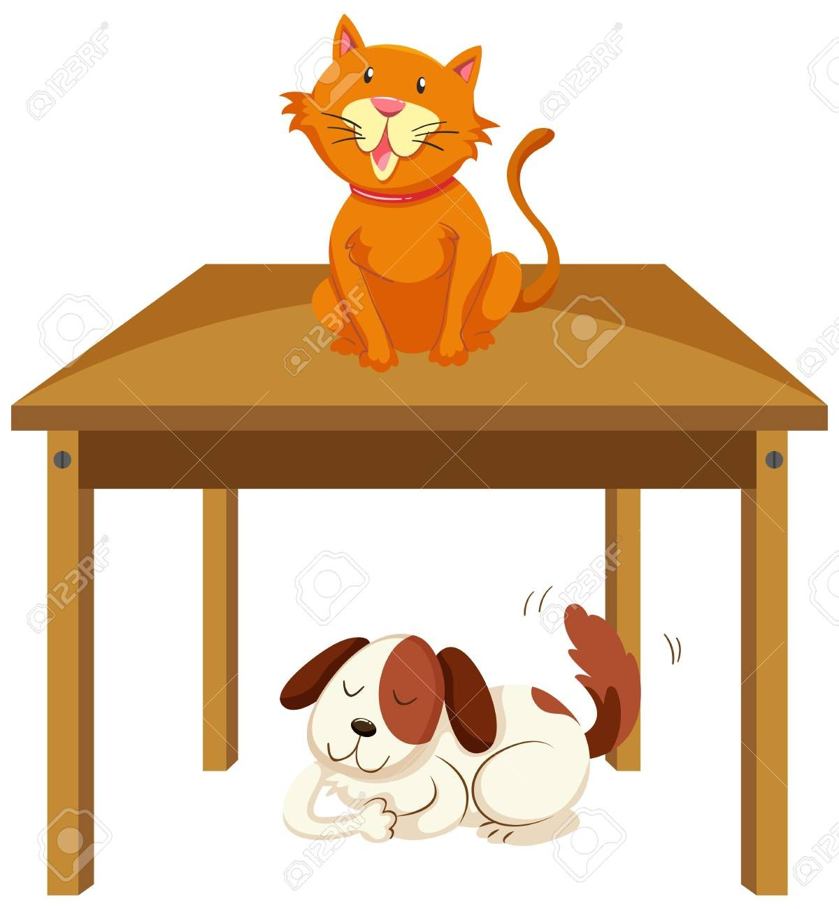 Dog and cat under the desk clipart svg freeuse library At Cat Under The Table Clipart 58766831 Dog Looks Black That Sits On ... svg freeuse library