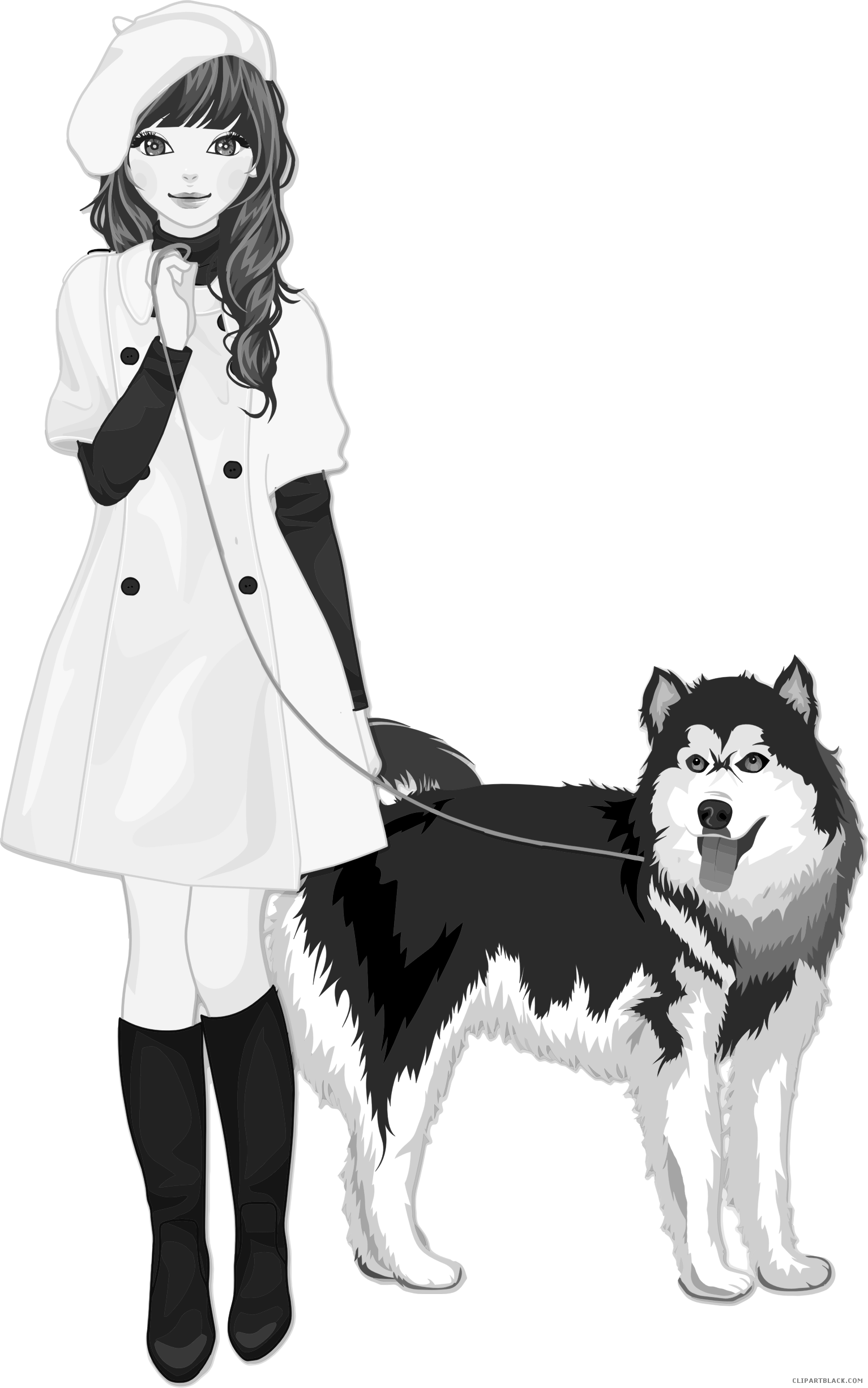Dog and girl clipart png black and white stock Girl and Dog Clipart - ClipartBlack.com png black and white stock