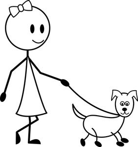 Dog and girl clipart black and white picture royalty free Pets Cartoon Clipart Image: Cute Cartoon Girl Taking Her Cute ... picture royalty free