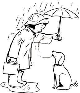 Dog and girl clipart black and white graphic stock A Black and White Cartoon of a Girl and Her Dog Out In the Rain Under graphic stock