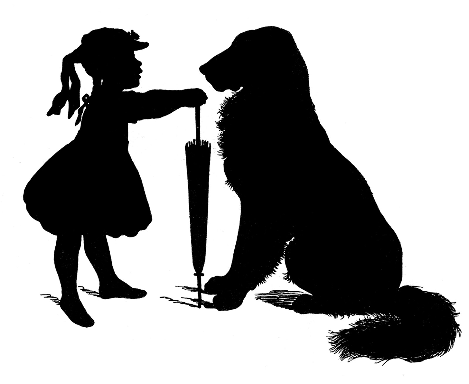 Dog and girl clipart black and white transparent stock Free Vector Download - Silhouette - Girl with Dog - The Graphics Fairy transparent stock