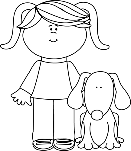 Dog and girl clipart black and white jpg transparent library Dog black and white black and white girl with pet dog clip art ... jpg transparent library