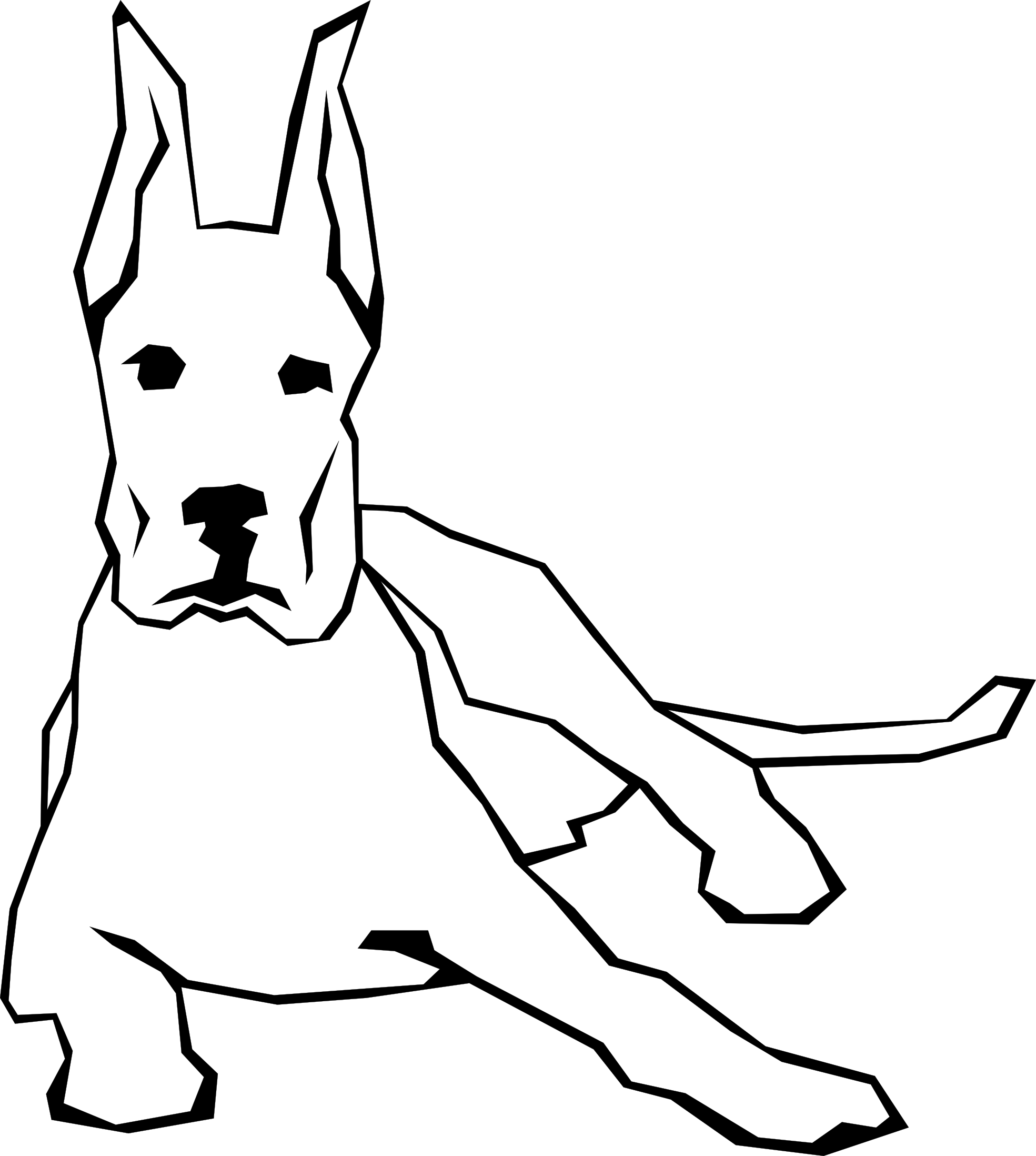 Dog barking clipart black and white clip art transparent download Dog Simple Drawing 9 Black White Line Art Scalable Vector Graphics ... clip art transparent download