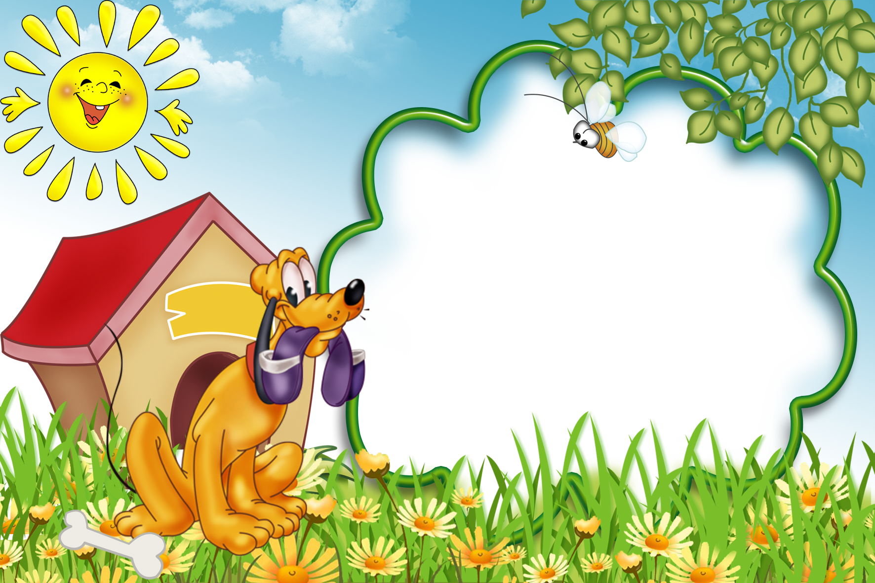 Dog border clipart vector free Kids Transparent Photo Frame with Dog | Gallery Yopriceville - High ... vector free