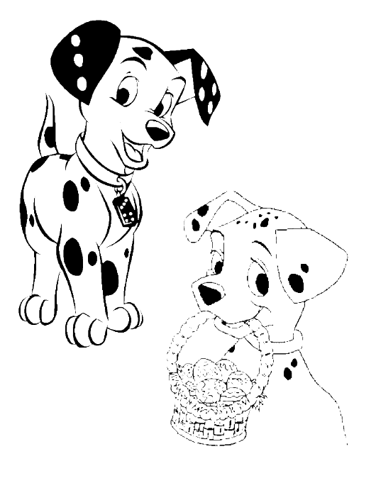 Dog clipart coloring pages vector free stock 101 Dalmatians Easter Egg Coloring Page - Animal Coloring Pages ... vector free stock