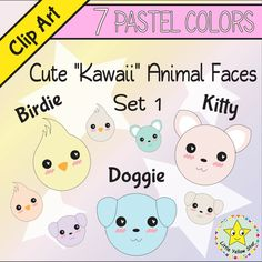 Dog clipart pastel picture free Clip Art – Cute Kawaii Animal Faces (Cat, Dog, Bird) – 7 Pastel ... picture free