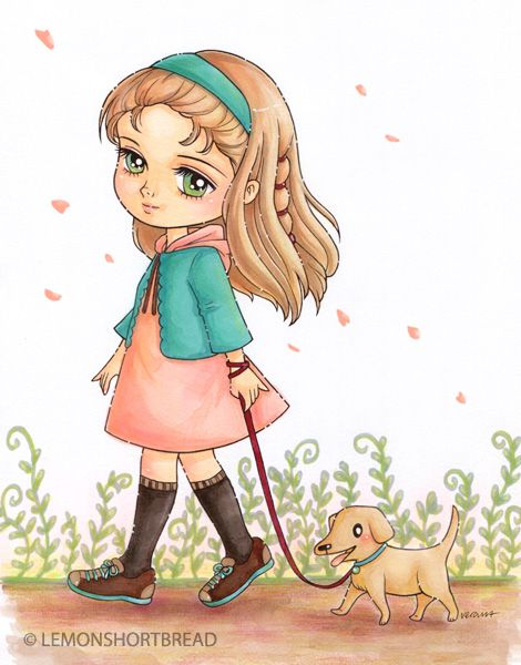 Dog clipart pastel vector free library Digital Stamp Girl Walking Dog, Puppy Digi Coloring Page, Cute ... vector free library