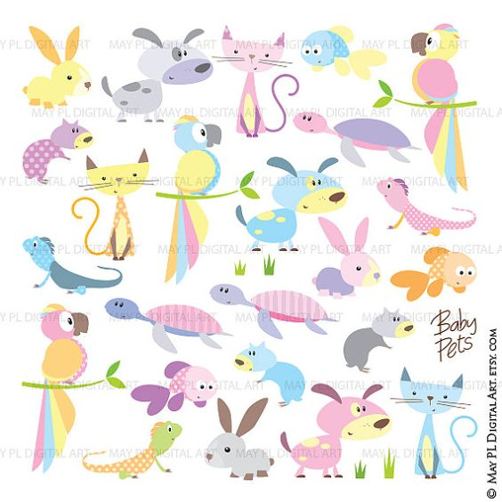 Baby animals clip art. Dog clipart pastel