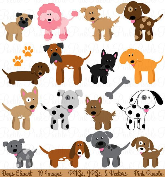 Dog clipart pastel clip art royalty free library Dog Clipart Clip Art, Puppy Clipart Clip Art Vectors - Commercial ... clip art royalty free library