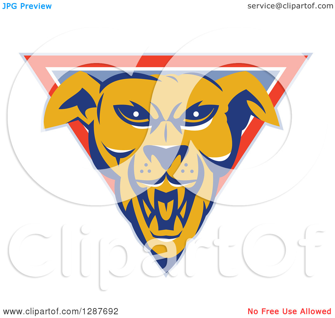 Dog clipart pastel image black and white download Clipart of an Aggressive Guard Dog Head in a Pastel Blue, Orange ... image black and white download