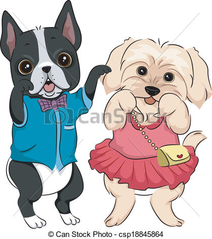 Dog clipart stock clip art royalty free stock Clip Art Vector of Dog Fashion Show - Illustration Featuring Cute ... clip art royalty free stock