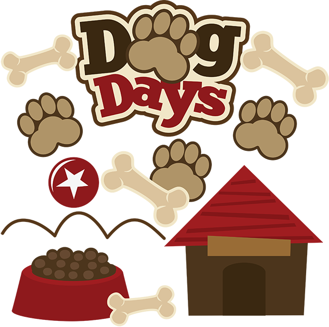 Dog days of summer clipart. Svg scrapbook collection files